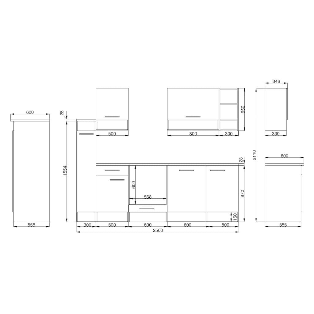 RESPEKTA Küchenzeile »Lübeck«, mit E-Geräten, Breite 250 cm