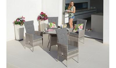 KONIFERA Gartenmöbelset »Belluno«, 9 - tlg., 4 Sessel, Tisch Ø 100 cm, Polyrattan kaufen