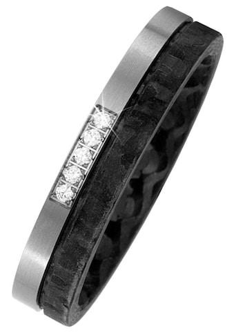 JOBO Diamantring, Carbon mit Titan 5 Diamanten Brillanten Partnerring bicolor kaufen