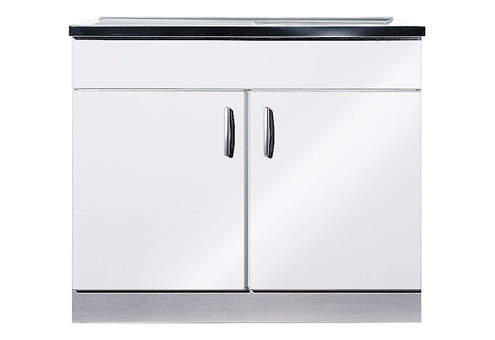 Spülenschrank Amrum | Küche und Esszimmer > Küchenschränke > Spülenschränke | Weiß | Glänzend - Melamin