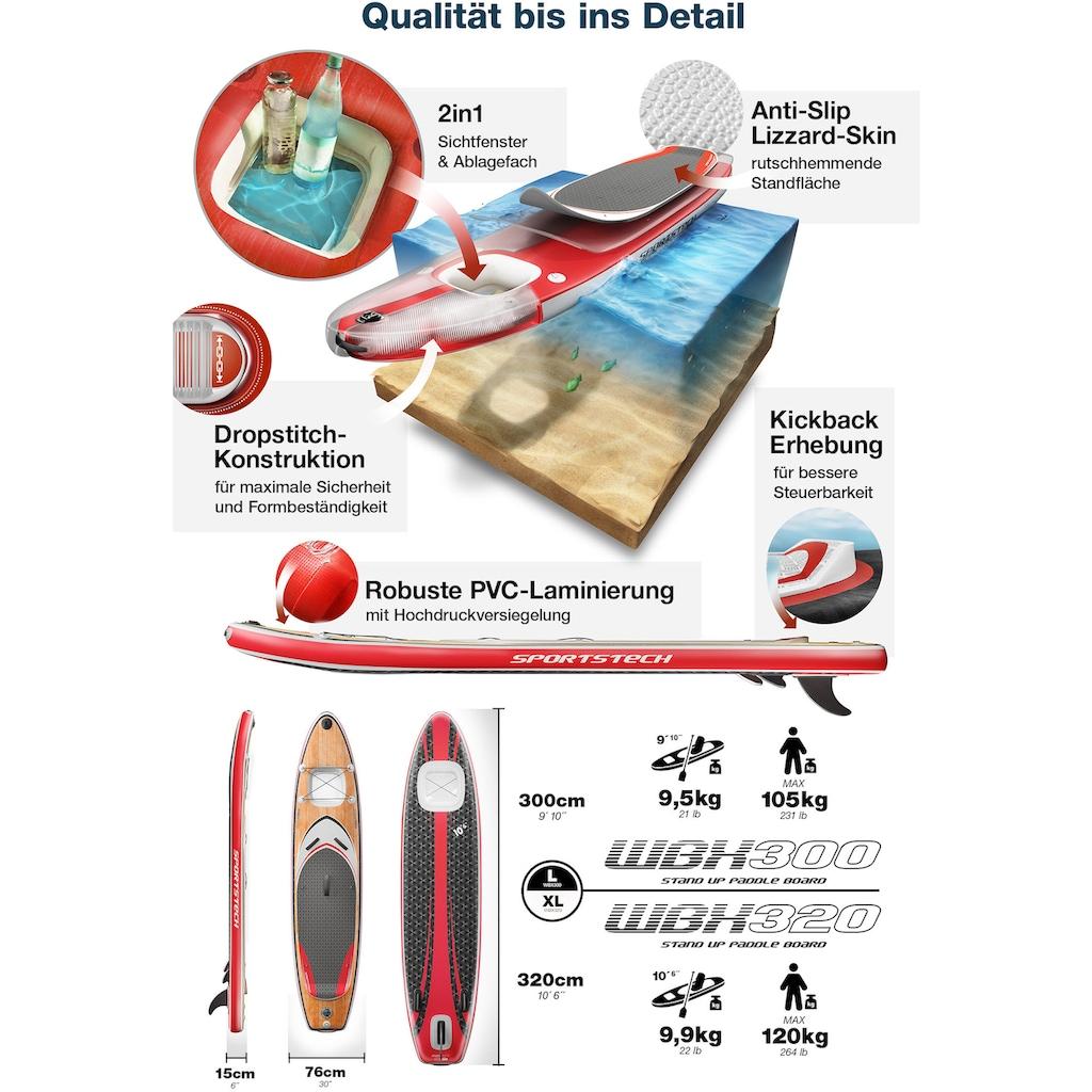 Sportstech Inflatable SUP-Board »WBX_WOODENBLACK«, (Set, 9 tlg., mit Paddel, Pumpe, Transportrucksack und Sitz), Sichtfenster
