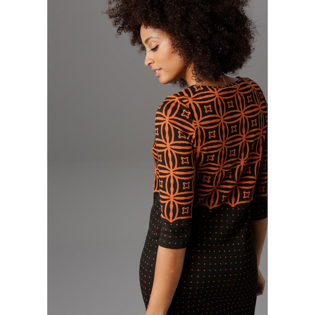 Aniston SELECTED Jerseykleid, im modernen Muster- und Punkte-Design