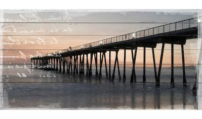 queence Holzbild »Steg im Sonnenuntergang«, 40x80 cm kaufen