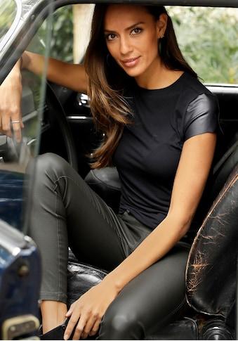 LASCANA T-Shirt, mit Lederimitatärmeln kaufen