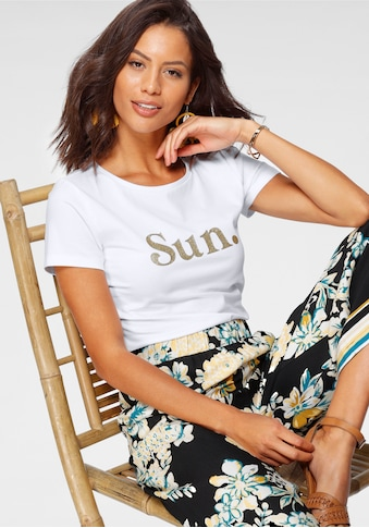 Laura Scott Rundhalsshirt, mit glänzender Aufschrift - NEUE KOLLEKTION kaufen