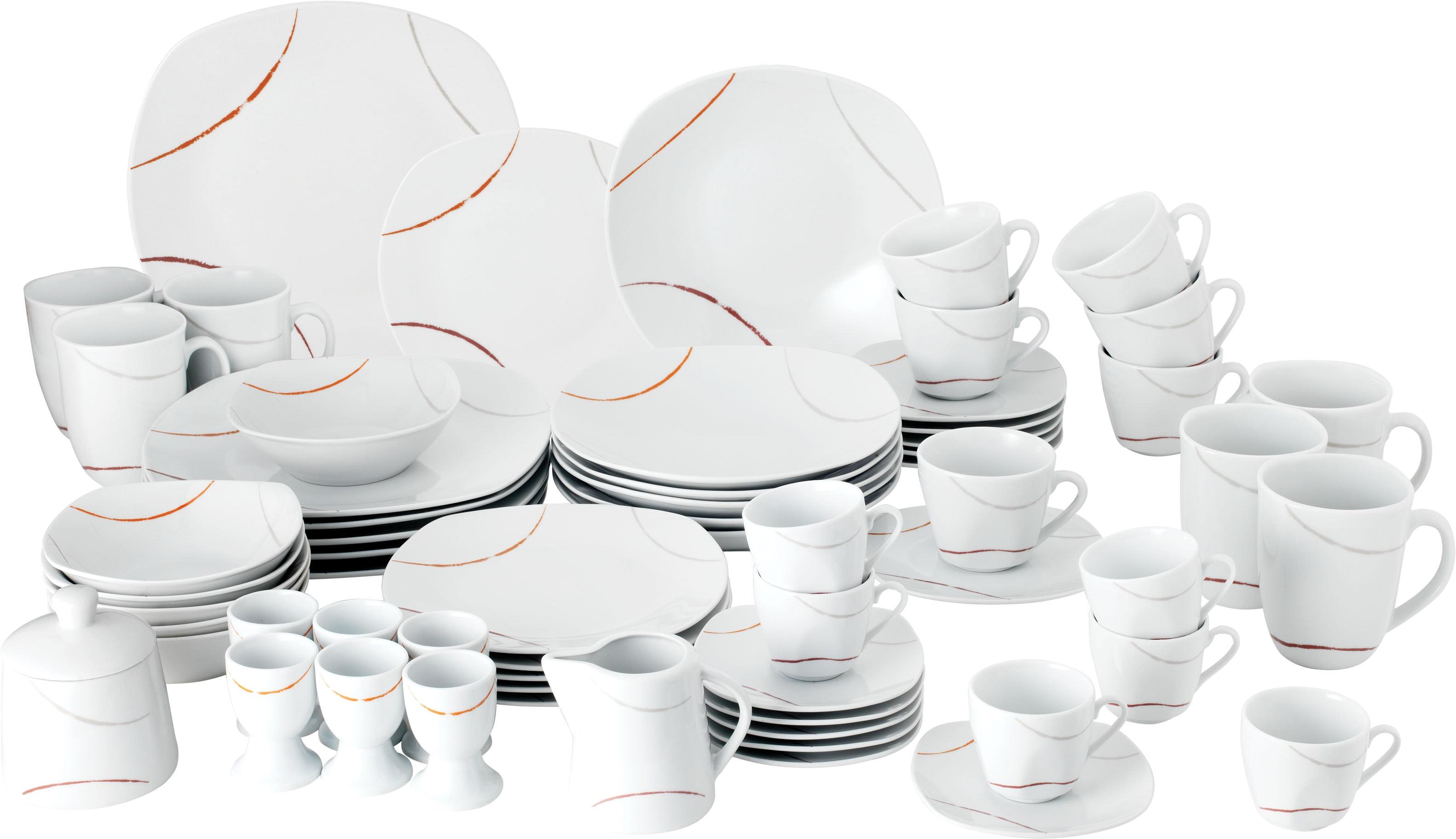 van Well Geschirr-Set Porto, (Set, 62 tlg.), Eckige Form weiß Geschirr-Sets Geschirr, Porzellan Tischaccessoires Haushaltswaren