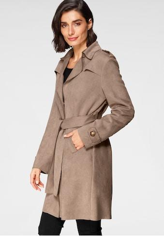 Amber & June Trenchcoat, aus leichtem Lederimitat, angeraut kaufen