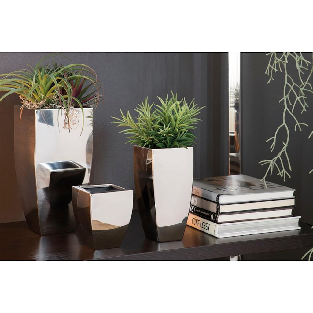 Fink Übertopf »CUBE, silberfarben«, (1 St.), Pflanzübertopf, Blumenübertopf, Blumentopf, aus Metall, hochwertige Verarbeitung, In- und Outdoor geeignet, Wohnzimmer
