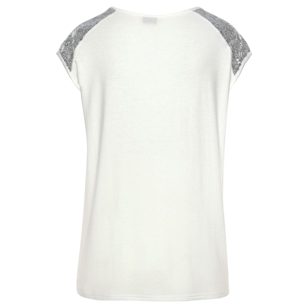 LASCANA Strandshirt, mit Paillettenbesatz