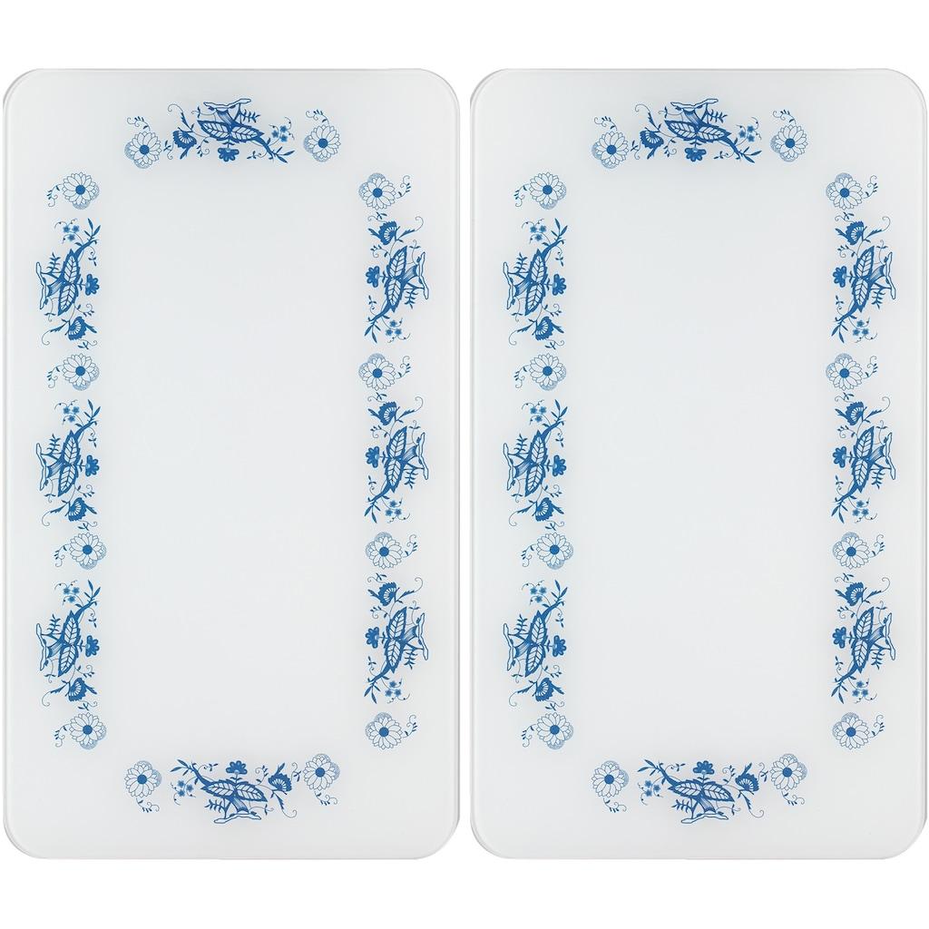 WENKO Herd-Abdeckplatte »Universal Blaue Rankblüten«, (Set, 2 tlg.)