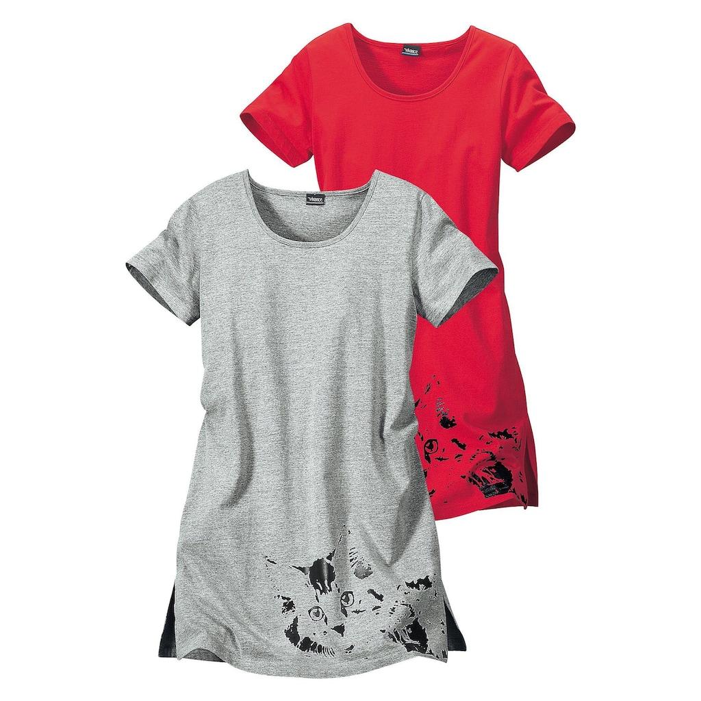 Vivance Dreams Nachthemd, (2er-Pack), mit Katzenprint
