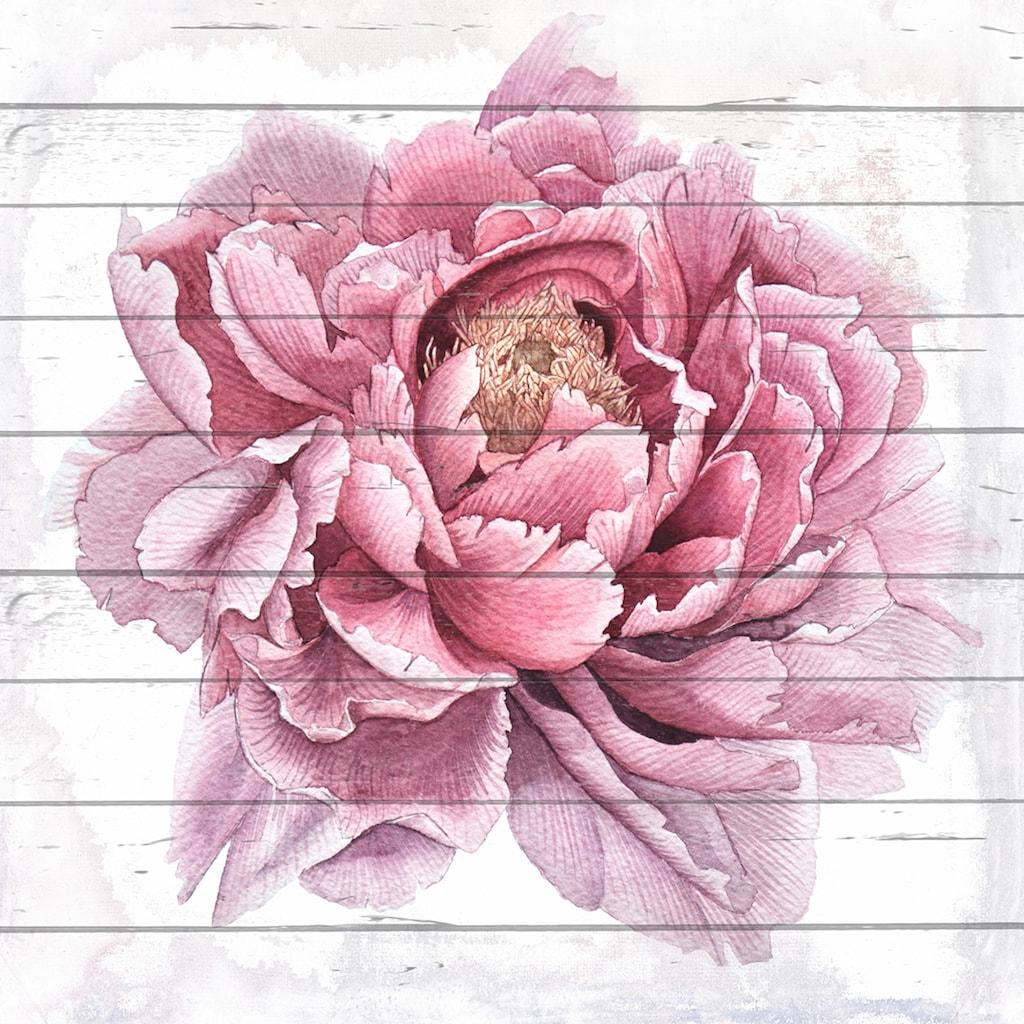 queence Holzbild »Gezeichnete Blüte«, 40x40 cm