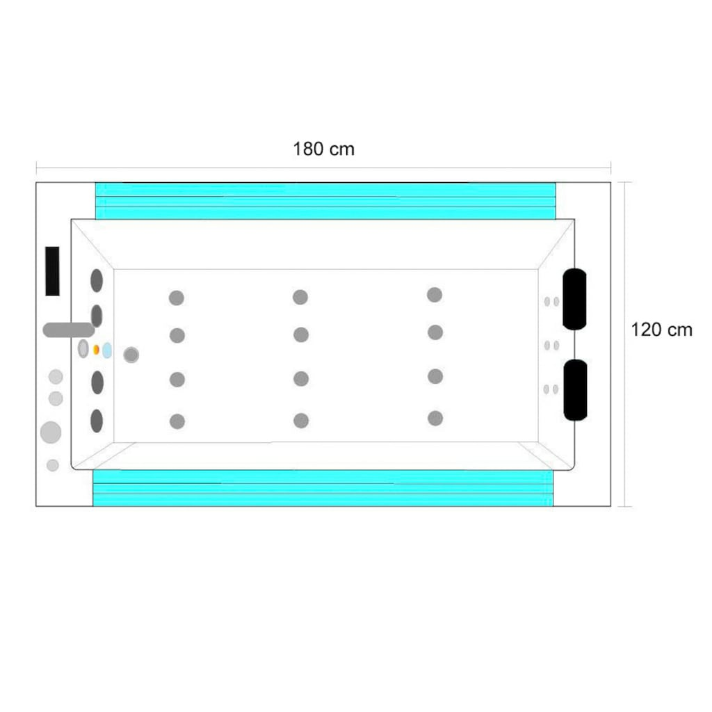 HOME DELUXE Whirlpool-Badewanne »Cadiz XL«, B/T/H in cm: 180/120/61