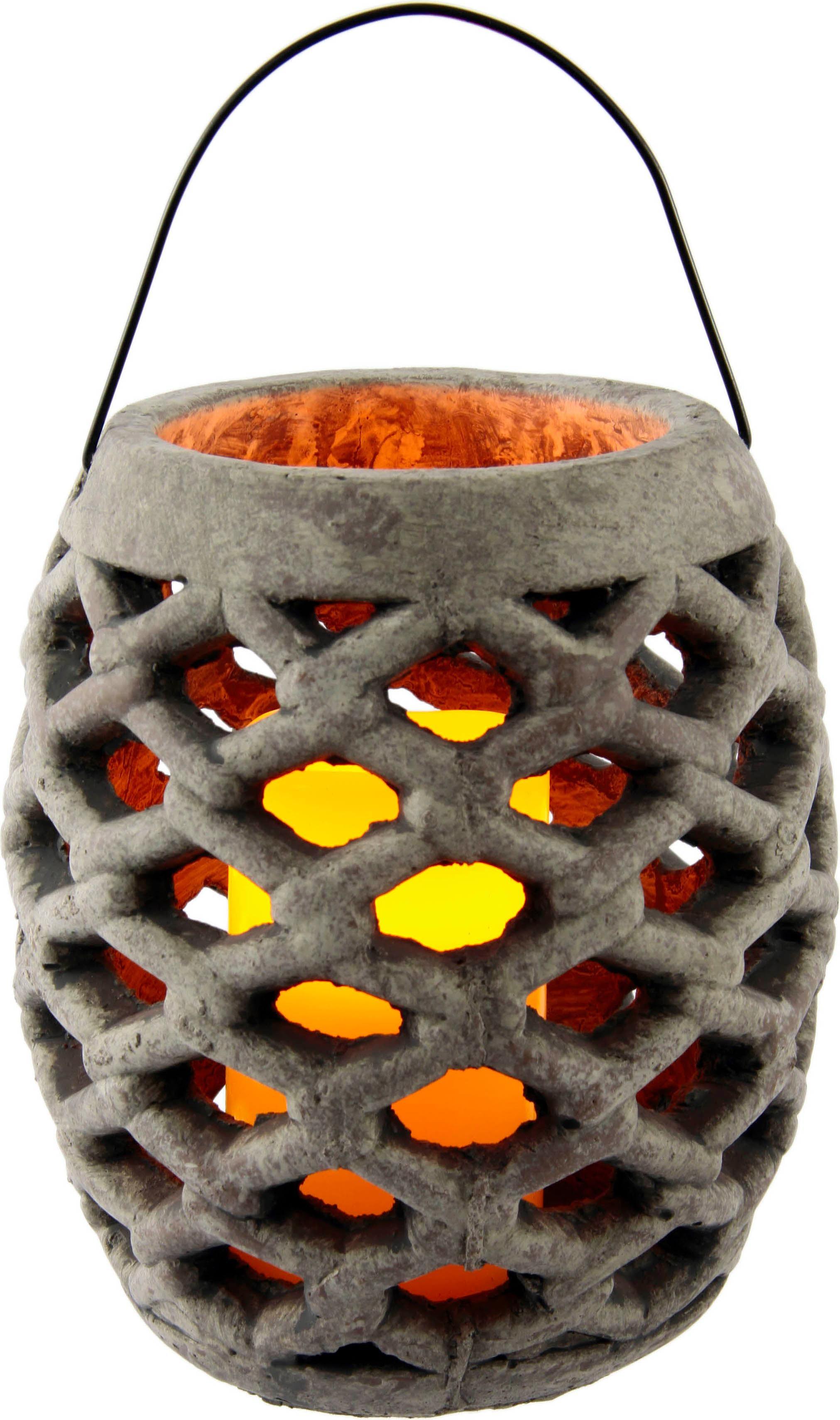 I.GE.A. Laterne Keramik Windlicht mit LED, Maße (H): 22 cm grau Kerzenhalter Kerzen Laternen Wohnaccessoires
