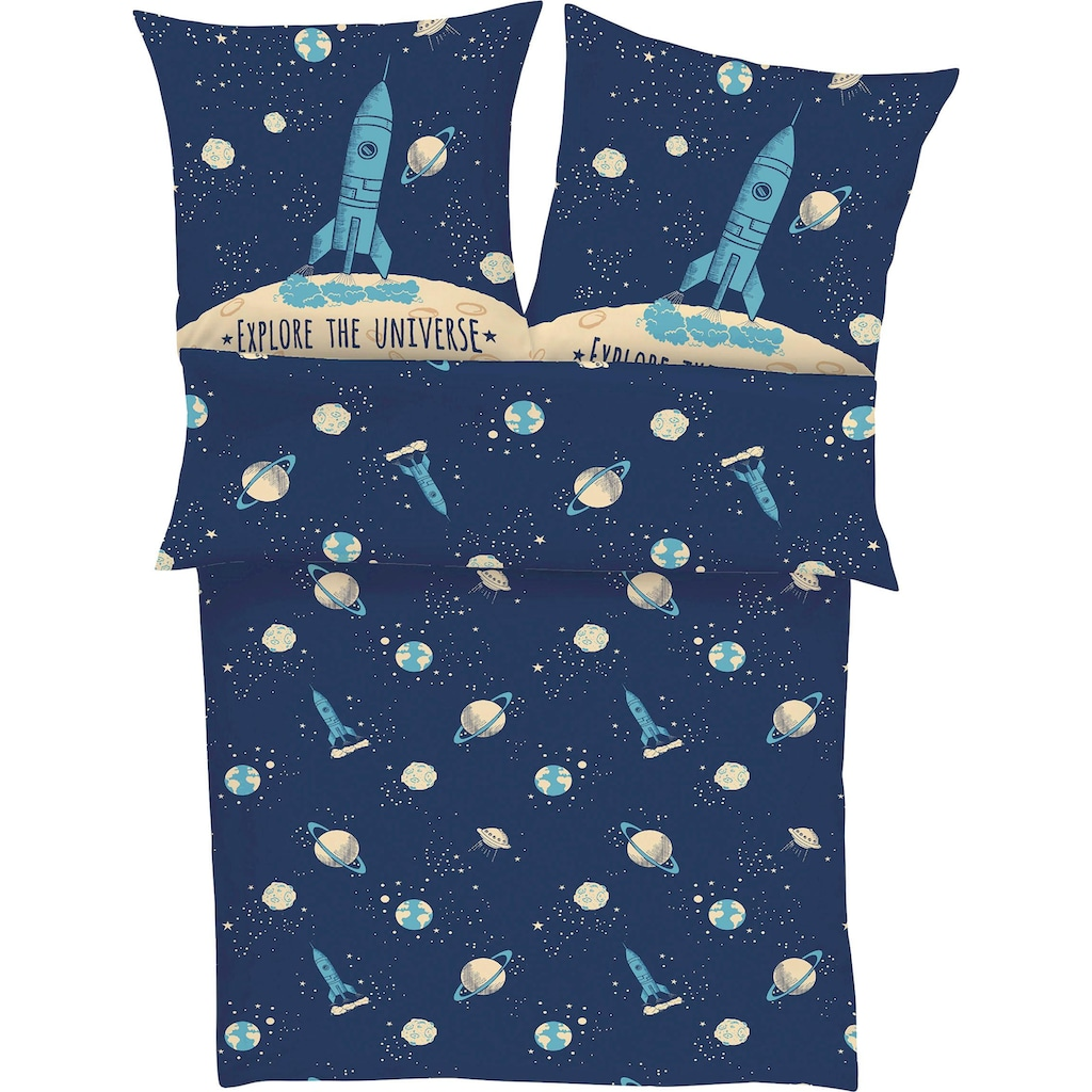 s.Oliver Junior Kinderbettwäsche »Explore the Universe«, mit Weltraum Motiv