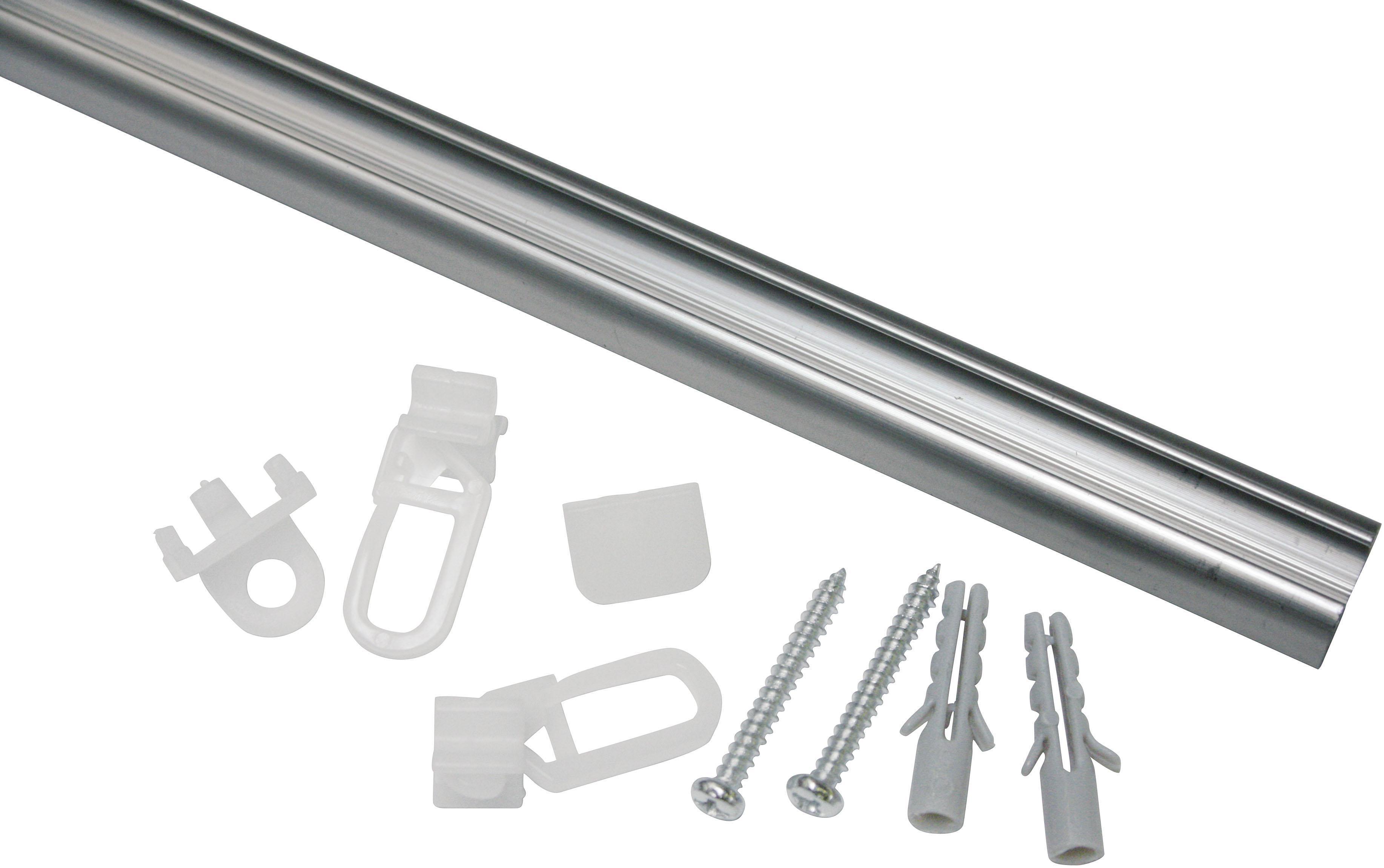GARDINIA Gardinenschiene Aluminiumschiene, Serie Aluminiumschiene Ø 13 mm grau Gardinenschienen Gardinen Vorhänge
