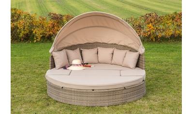 MERXX Loungebett »Riva«, Alu - Gestell/Polyrattan, naturgrau, inkl. Auflagen kaufen