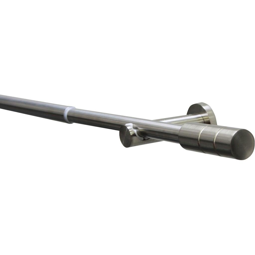 GARDINIA Gardinenstange »Gardinenstangen Set Metall«, 1 läufig-läufig, ausziehbar, Serie Kreta Zylinder