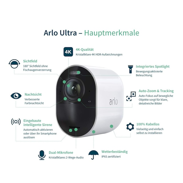 ARLO Ultra 4K UHD Sicherheitssystem »Kabelloses 4K-UHD-Überwachungssystem + 2x Kamera«