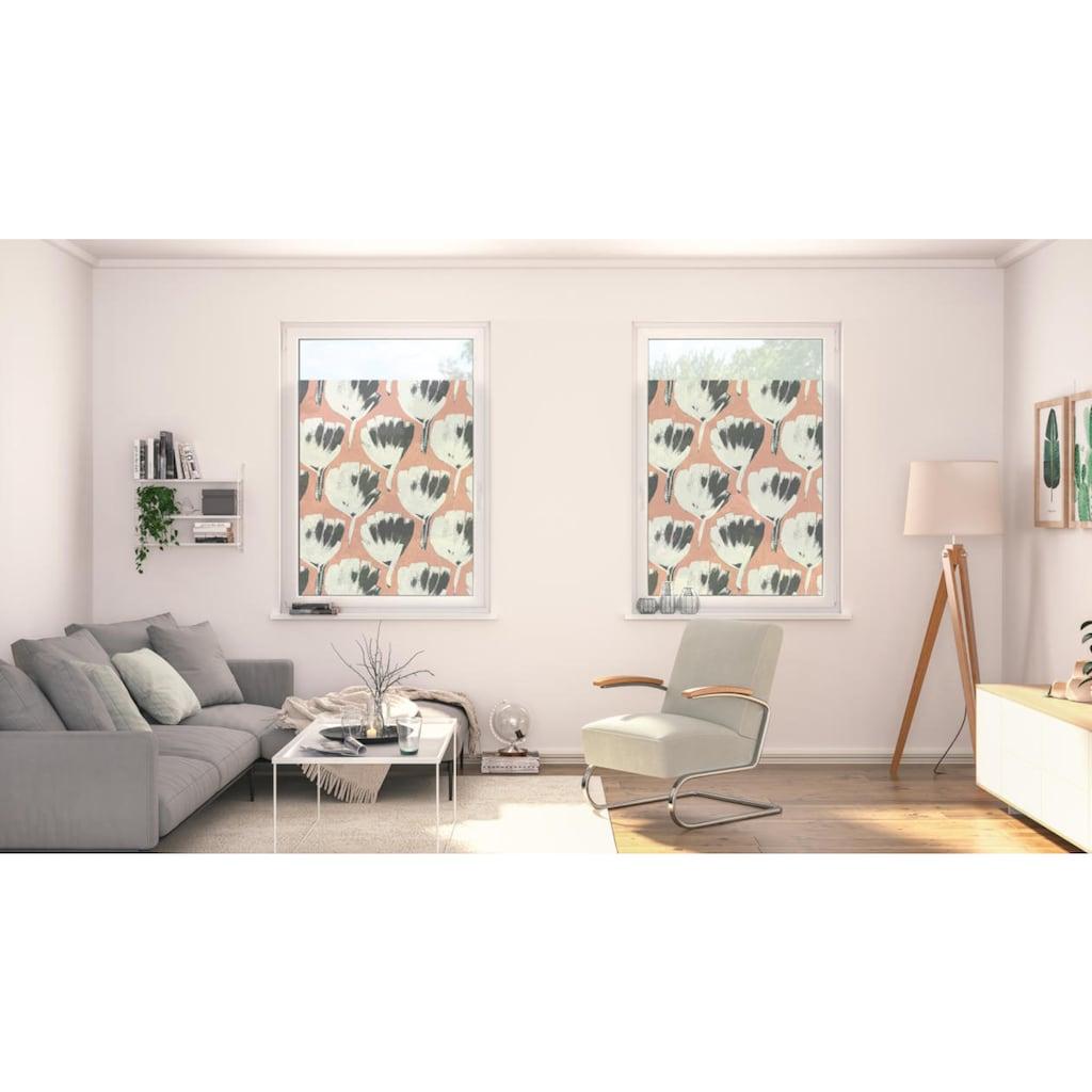 LICHTBLICK ORIGINAL Fensterfolie »Fensterfolie selbstklebend, Sichtschutz, Jumbo Flowers on salmon - Rot«, 1 St., blickdicht, glattstatisch haftend