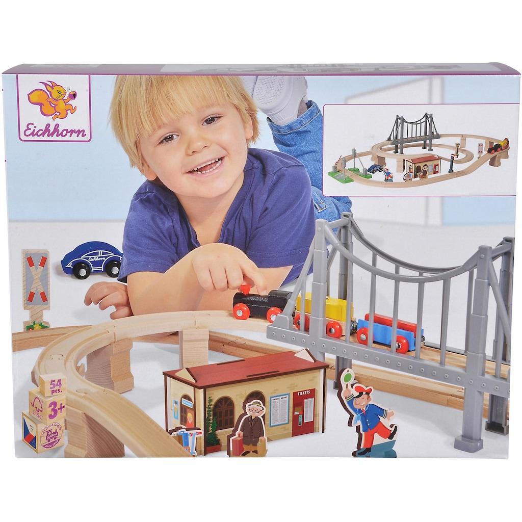 Eichhorn Spielzeug-Eisenbahn »Bahnset mit Brücke, 54-tlg.«, aus Holz; Made in Europe, FSC®-Holz aus gewissenhaft bewirtschafteten Wäldern