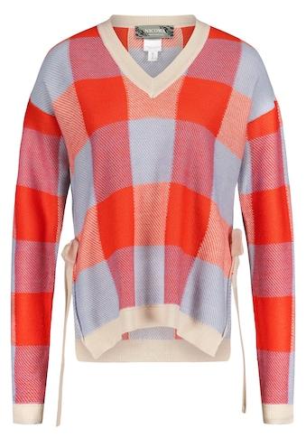 Nicowa V-Ausschnitt-Pullover, mit großem Karomuster - GIONO kaufen