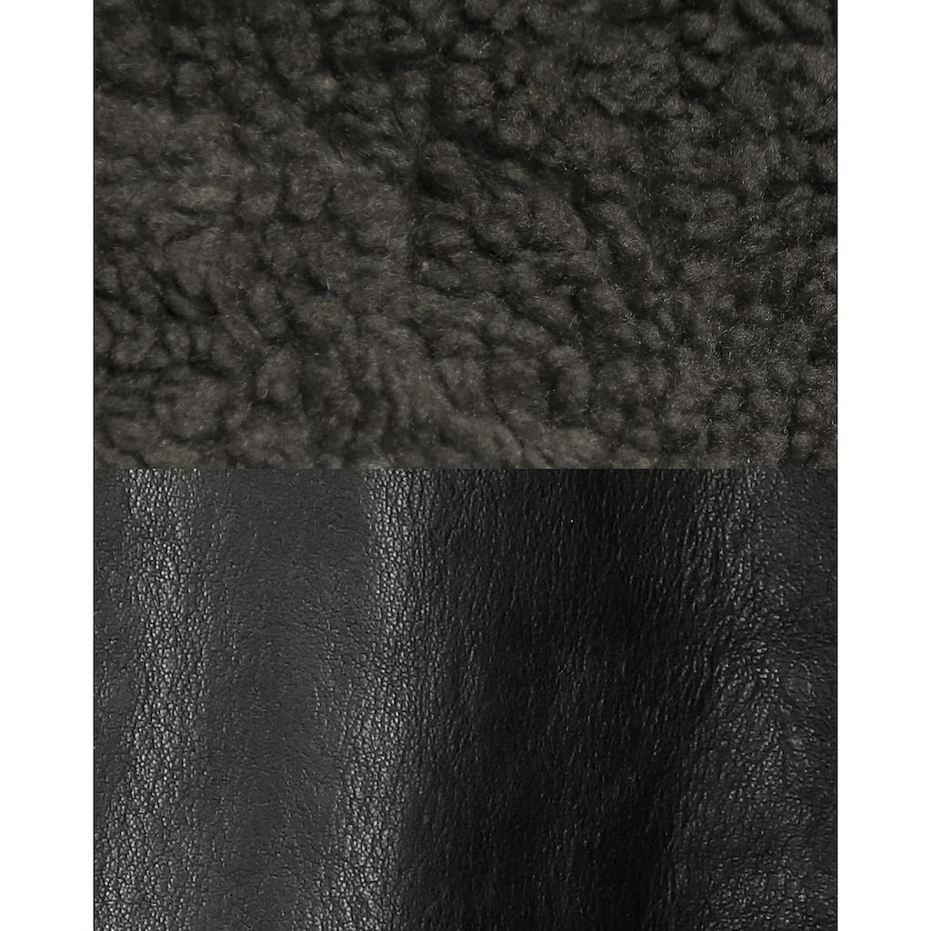 MUSTANG Lederjacke mit abnehmbarem Kunstfellkragen