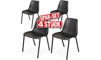 Schalenstuhl, 4er Set, Textil/Edelstahl, stapelbar kaufen