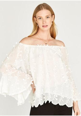 Apricot Carmenbluse »Floral Vine Bell Sleeve Bardot Top«, mit Bardot-Ausschnitt kaufen