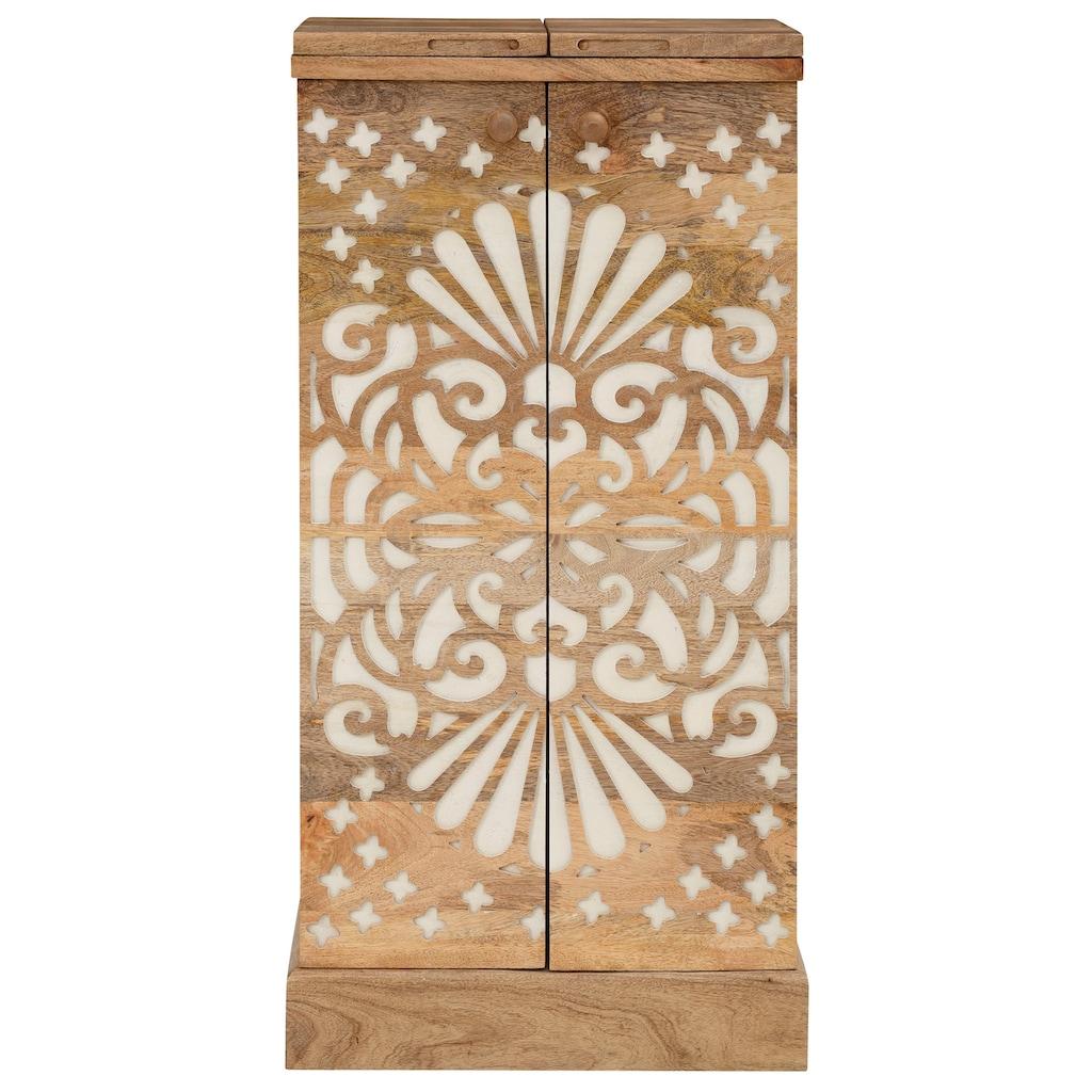 Home affaire Barschrank »Alankar«, aus massivem Mangoholz, mit schöner Fräsung auf den Türenfronten, Höhe 113 cm
