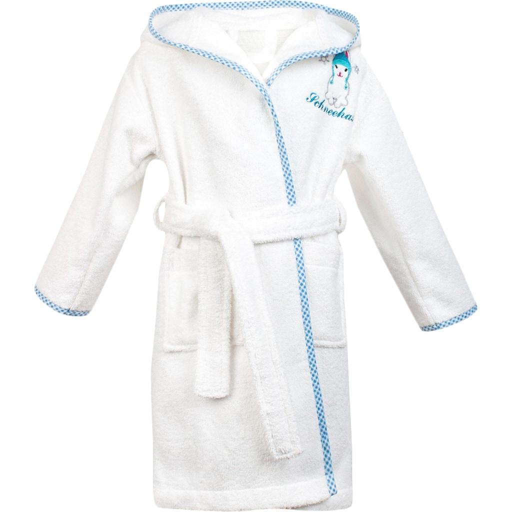 ADELHEID Kinderbademantel »Schneehase«, (1 St., mit Gürtel), mit Applikation und Stickerei