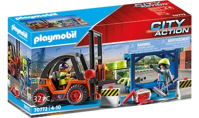 Playmobil® Konstruktions-Spielset »Gabelstapler mit Fracht (70772), City Action«, (32... kaufen