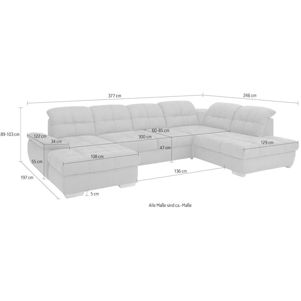 Home affaire Wohnlandschaft »Lotus Home Luxus«, belastbar bis zu 140kg pro Sitzplatz, incl. Sitztiefenverstellung, wahlweise mit Kopfteil- und Armlehnverstellung, Bettfunktion und Bettkasten