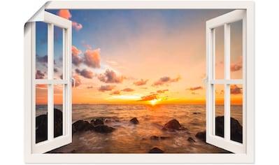 Artland Wandbild »Fensterblick Sonnenuntergang am Meer«, Fensterblick, (1 St.), in vielen Größen & Produktarten - Alubild / Outdoorbild für den Außenbereich, Leinwandbild, Poster, Wandaufkleber / Wandtattoo auch für Badezimmer geeignet kaufen