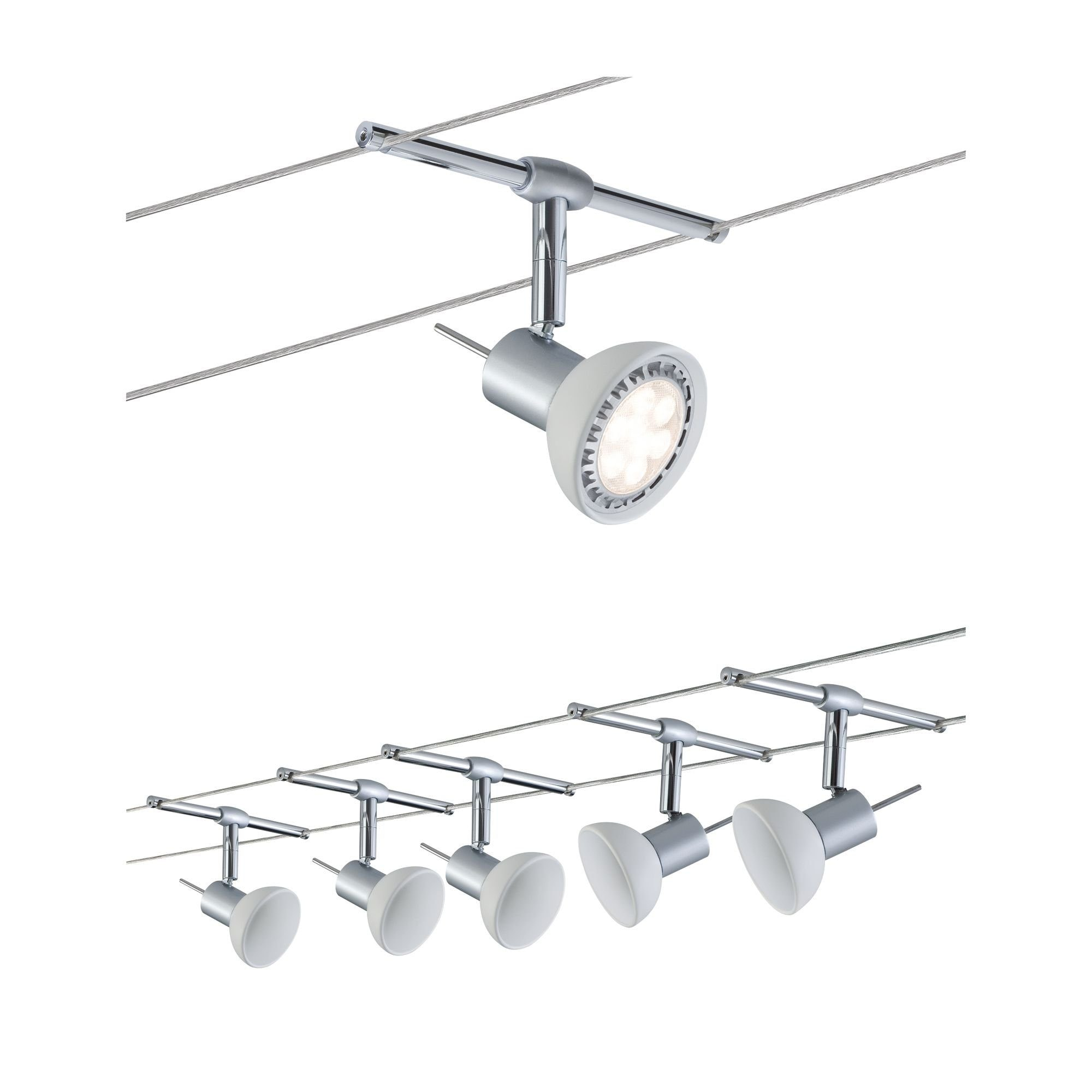 Paulmann LED Deckenleuchte Seilsystem Sheela Chrom matt mit 5 Spots max. 10W GU5,3, GU 5,3, 1 St.