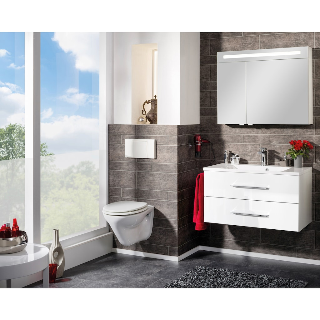 FACKELMANN Spiegelschrank »CL 90 - weiß«, Breite 90 cm, 2 Türen, LED-Badspiegel, doppelseitig verspiegelt