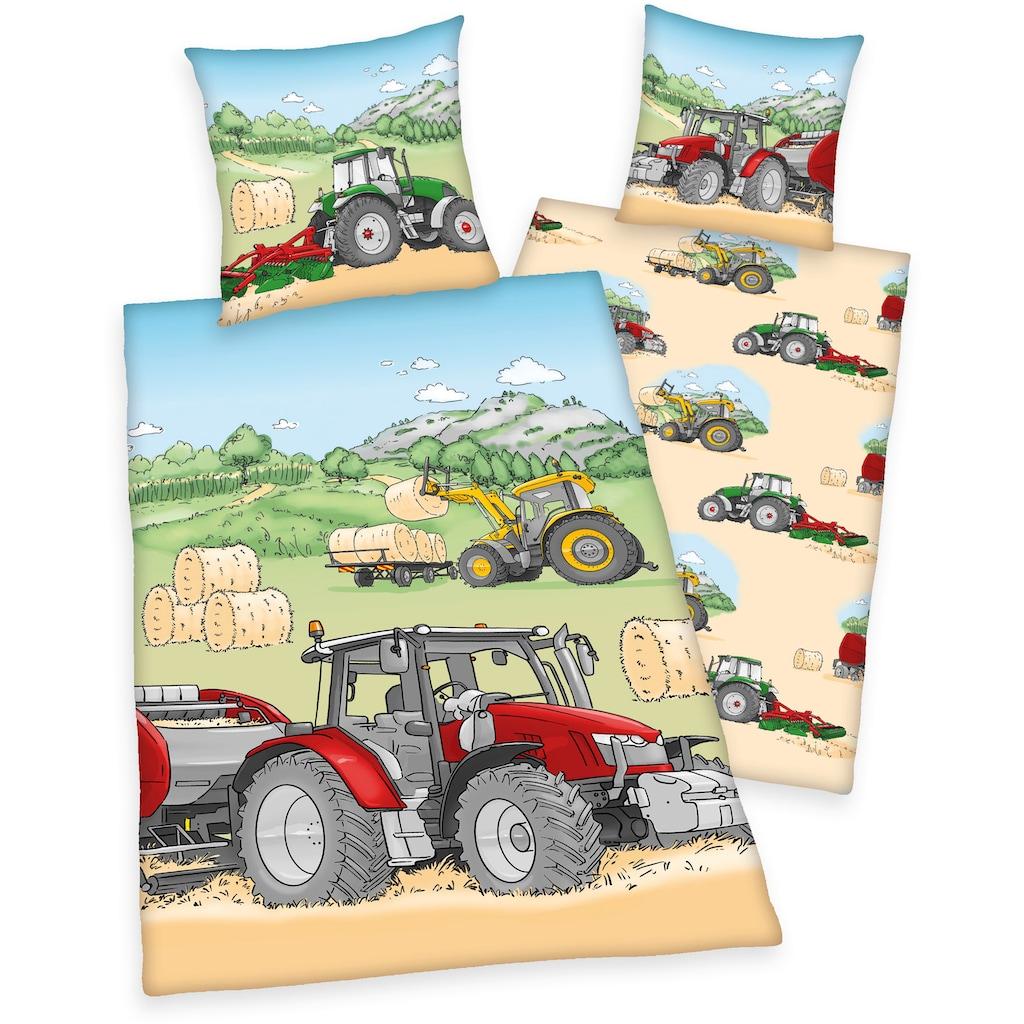 Herding Young Collection Kinderbettwäsche »Traktor«, mit tollem Traktoren-Motiv