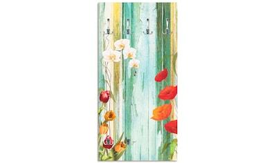 Artland Garderobe »Bunte Blumen«, Garderobe mit 4 großen und 2 kleinen Haken kaufen
