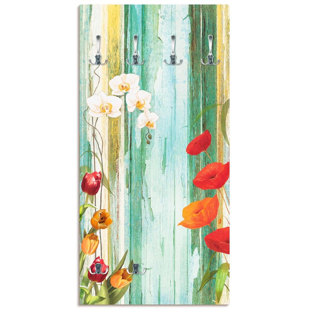 Artland Garderobe »Bunte Blumen«, platzsparende Wandgarderobe aus Holz mit 6 Haken, geeignet für kleinen, schmalen Flur, Flurgarderobe