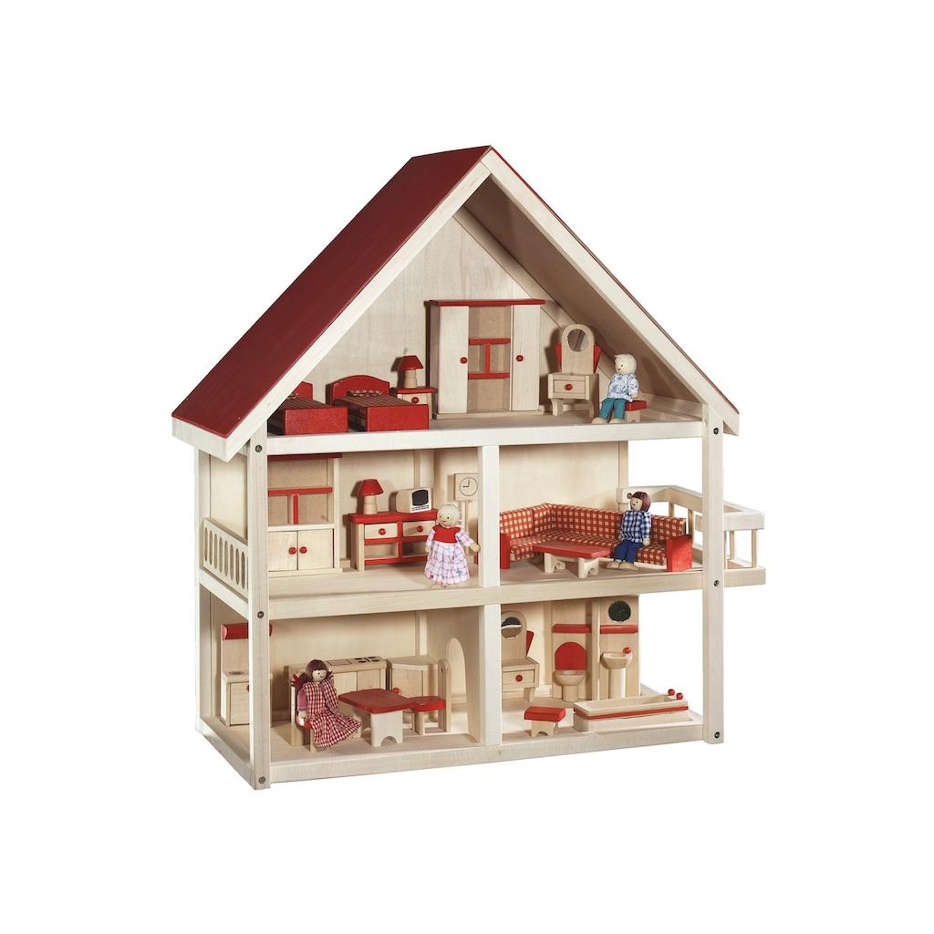 roba® Puppenhaus »Villa Bunt«, 3-stöckig, inkl. Möbel und Puppen