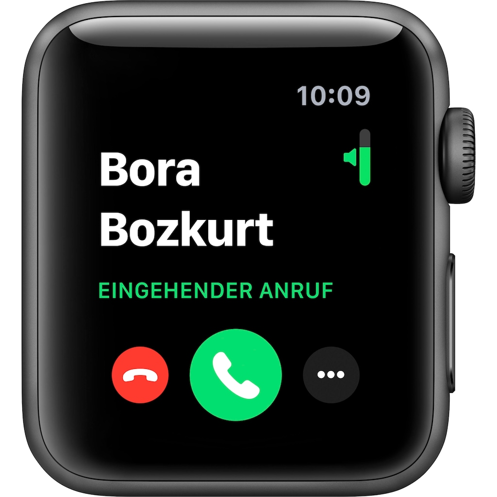 Apple Watch »Series 3 GPS, Aluminiumgehäuse mit Sportarmband 38mm«, (Watch OS 5 inkl. Ladestation (magnetisches Ladekabel)