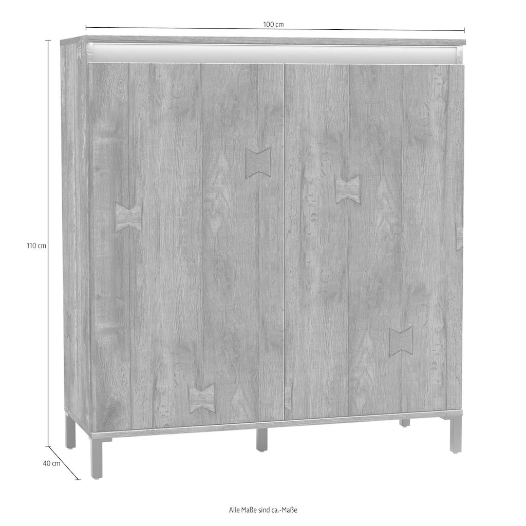 KITALY Highboard »Genio Industrial«, Mit wendbare Blende in weiß/ anthrazit, Höhe 110 cm