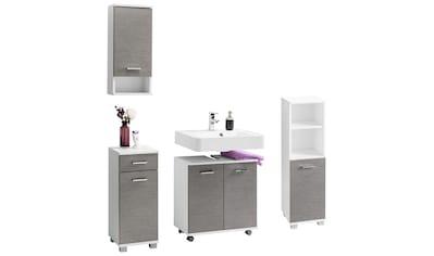 Badezimmermöbel Set Weiß Hochglanz