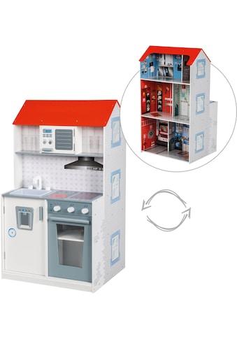roba® Spielküche »2-in-1, Feuerwehr«, mit mehrstöckigem Puppenhaus kaufen
