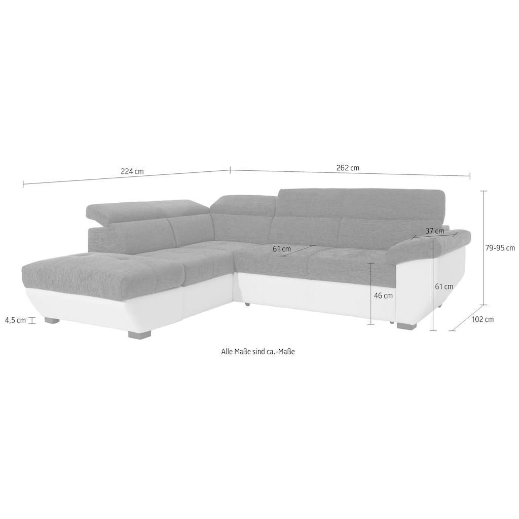 COTTA Polstergarnitur, (Set), inklusive Kopfteilverstellung, wahlweise mit Bettfunktion und Bettkasten, Hocker und Sofa im Set