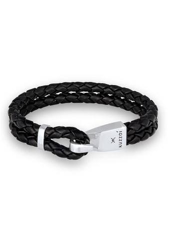 Kuzzoi Armband »Herren Leder Haken - Verschluß Maritim 925 Silber« kaufen