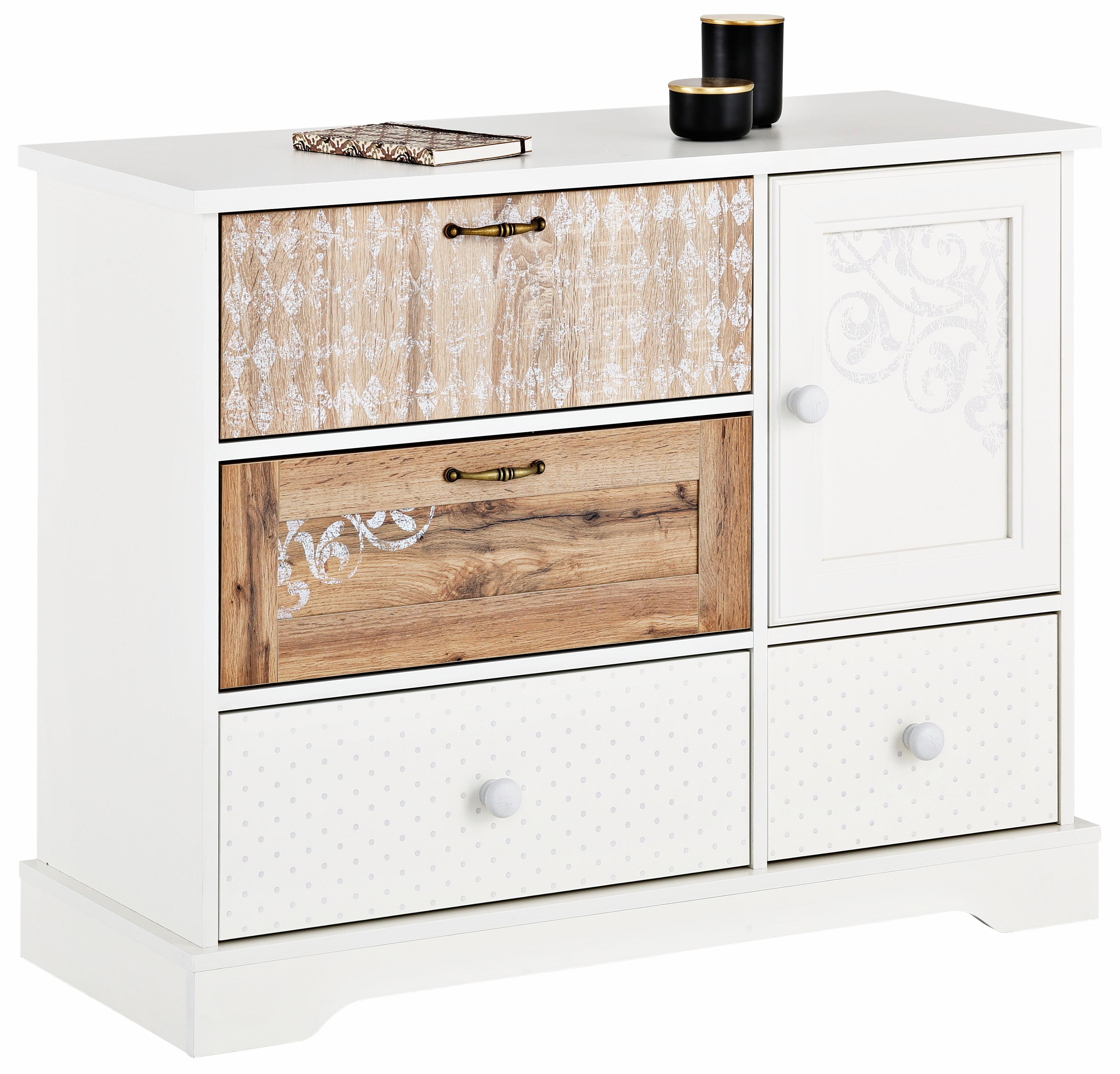Home affaire Kommode Ella 102 cm breit dezent verziert/bedruckt mit Ranken und Ornamenten