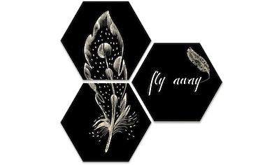 Wall-Art Mehrteilige Bilder »Hexagon Set - Fly away Feder«, (Set, 3 St.) kaufen