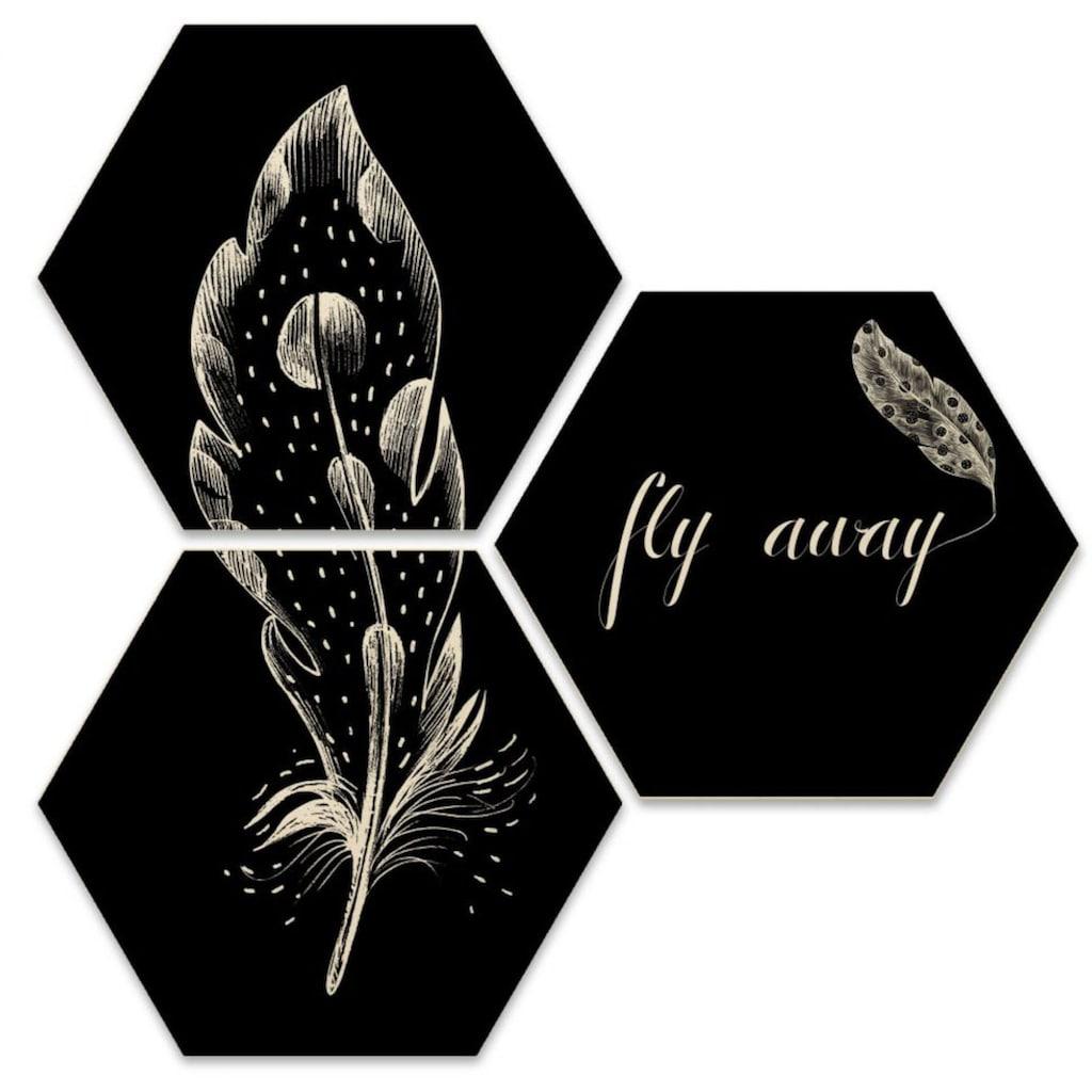 Wall-Art Mehrteilige Bilder »Hexagon Set - Fly away Feder«, (Set, 3 St.)