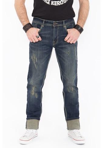 KingKerosin Slim-fit-Jeans, Destroyed Coffee Look kaufen